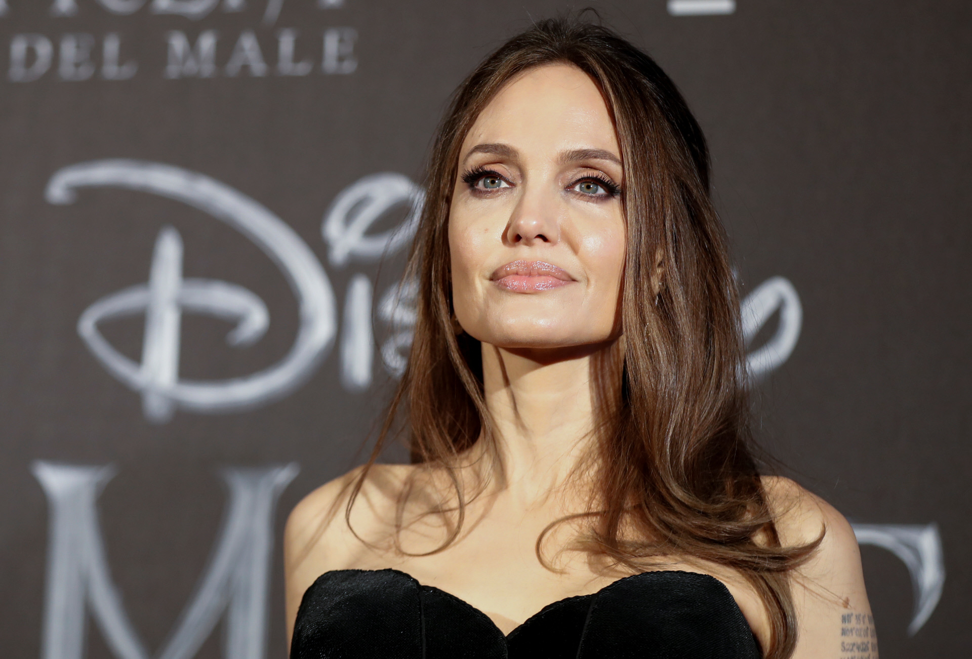 """Actress Angelina Jolie at photocall for the European premiere of """"Maleficent: Mistress of Evil"""" in Rome, Italy, October 7, 2019."""